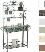 CLP XL Pflanzen-Regal SHINE, Eisen, 4 Ablageflächen, 3 Schubkörbe, Höhe ca. 150 cm, Breite 95 cm, Tiefe 30 cm, Pflanztisch Antik Grün