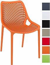 CLP XXL Bistrostuhl AIR aus Kunststoff | Stapelstuhl AIR mit einer Sitzhöhe von 44 cm | Outdoor-Stuhl mit einer maximalen Belastbarkeit von 160 kg Orange