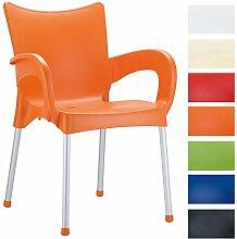 CLP XXL Bistrostuhl ROMEO mit Armlehnen | Gartenstuhl mit einer max. Belastbarkeit von 160 kg | Stapelstuhl mit Aluminiumgestell und Kunststoffsitz | In verschiedenen Farben erhältlich Orange
