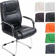 CLP XXL Freischwinger-Stuhl ATTILA mit Metallgestell und Armlehne   Bürostuhl mit Kunstlederbezug und hochwertiger Polsterung   Bis zu bis 180 kg belastbar Schwarz