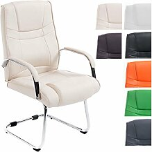CLP XXL Freischwinger-Stuhl mit Armlehne ATTILA, belastbar bis 180 kg, gepolstert Creme