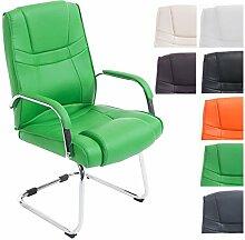 CLP XXL Freischwinger-Stuhl mit Armlehne ATTILA, belastbar bis 180 kg, gepolstert Grün