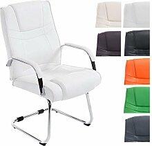 CLP XXL Freischwinger-Stuhl mit Armlehne ATTILA, belastbar bis 180 kg, gepolstert Weiß