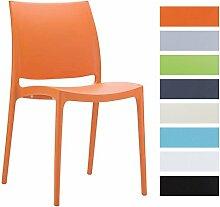 CLP XXL Küchenstuhl, Stapelstuhl, Gartenstuhl MAYA, stapelbar, wasserabweisend, UV-beständig, belastbar bis 160 kg Orange