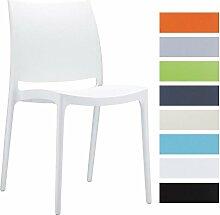 CLP XXL Küchenstuhl, Stapelstuhl, Gartenstuhl MAYA, stapelbar, wasserabweisend, UV-beständig, belastbar bis 160 kg Weiß