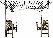CLP XXL Rosenbogen mit 2 BÄNKEN, Pergola Pavillon, Größe: 310 x 185 cm, Höhe 230 cm, aus Eisen Anthrazi