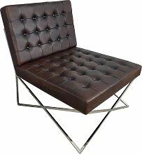 Club-Sessel Lounge-Sessel Schwarz braun Leder