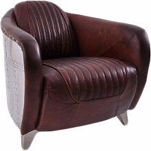 Clubsessel Aberford Vintage Leder Aluminium Echtleder Sessel Montaigne Brown rotbraun