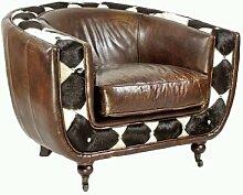 Clubsessel Banbury Vintage-Leder Kuhfell schwarz weiß Echtleder Sessel Vintage Cigar dunkelbraun