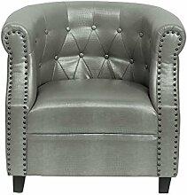 Clubsessel Leder Lounge Sessel Kroko grau