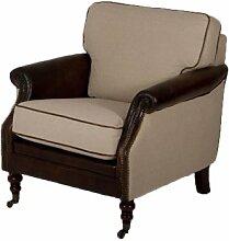 Clubsessel Vinlei Vintage-Leder Leinen Leinenstoff Sessel