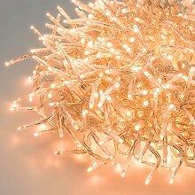 Cluster-Lichterkette 15 m, 1500 Mini LEDs warmweiß traditionell, transparentes Kabel, Dauerlicht, 30V, Innen und Außen