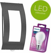 CMD | Aqua Quadrat | LED Außenwandleuchte mit BEWEGUNGSMELDER | Aussenleuchte / Außenlampe in anthrazit | inkl. PHILIPS LED Leuchtmittel E27