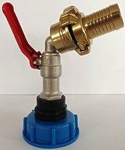 CMS60133MK102 Auslauf Kugelhahn + GEKA - Messing - Festkupplung und Schlauchtülle, IBC-Container-Zubehör-Regenwasser-Tank-Adapter-Fitting-Kanister