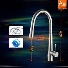 CNBBGJ 304 Edelstahl Waschbecken mit warmen und kaltem Wasser Hahn, drehbare bleifreie Wasserhahn, EIN