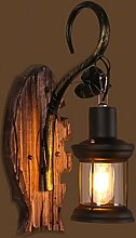 CNBBGJ Antike Wandleuchte, Massivholz antik, Amerikanische gang Schlafzimmer Bett wand Lampe, einem Kopf Wandleuchte
