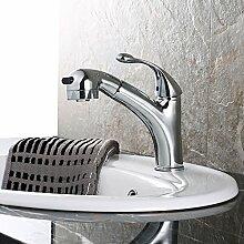 CNBBGJ Ausziehbare Becken mit einzigen Griff einzelne Bohrung Küche Wasserhahn warmes und kaltes Hahn Kupfer Armaturen