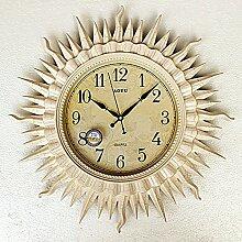 CNBBGJ Europäische Uhren Wanduhr Uhr mute Wohnzimmer Wohnzimmer Wanduhr Sun Wanduhr Dekoration Uhr Wohnzimmer Königin gesammelt, c