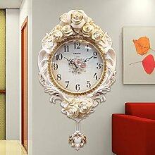 CNBBGJ Im europäischen Stil retro Wanduhr, Wohnzimmer moderne Home art Quarzuhr, Stummschaltung Dekoration, einfache kreative Wanduhr, F