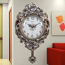 CNBBGJ Im europäischen Stil retro Wanduhr, Wohnzimmer moderne Home art Quarzuhr, Stummschaltung Dekoration, einfache kreative Wanduhr, C