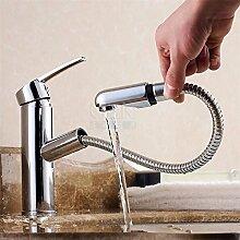 CNBBGJ Messing ausziehbare Waschbecken Wasserhahn heiße und kalte Extraktion Waschbecken Mischbatterie mit Hand tippen, Dusche
