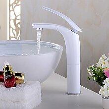 CNBBGJ Qualitativ hochwertiger Keramik weiß gehöht Waschbecken Wasserhahn