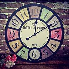 CNBBGJ Retro industrial wind Dekoration aufhängen Uhren, Wohnzimmer Studios hängen Uhren, Stummschaltung, Tabelle, G