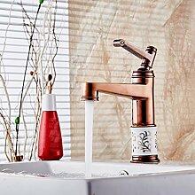 CNBBGJ Rose Gold Farbe Badezimmer Waschtisch Armatur, Waschtisch Armatur, Rose Gold