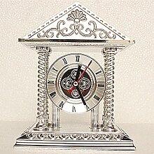 CNBBGJ Uhr, Mode stimmungsvolle Dekoration, im europäischen Stil retro pastorale Wohnzimmer, einfache Schlafzimmer Nachttisch Wecker, Tischuhr, F