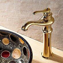 CNBBGJ Waschbecken Waschtisch - Waschbecken - style vintage Gold Kupfer einzelne Bohrung bad Armatur Einhebel heiße und kalte Fächer
