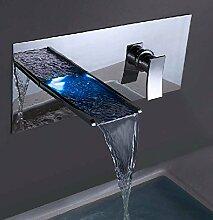 CNBBGJ Waschtisch Armatur, alle Kupfer Einloch led Wasserfall Wasserhahn, heiße und kalte Mauer in die dunklen waschen Wasserhahn