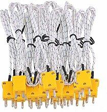 cnbtr Metall 1Meter K-Type Messen Thermoelement-Sonde Sensoren mit K Typ Mini Stecker Set von 10, weiß