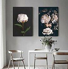 CNHNWJ Nordic Elegant Pink Rose In Darkness