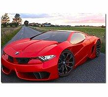 CNLSZM Bilder Rotes Auto DIY Malen Nach Zahlen