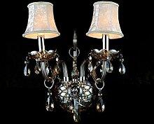 CNMKLM 2 Lichter Crystal Bettseitgeräte Wandleuchten Lampe europäischen Wohnzimmer Wandleuchte Wandleuchten Arbeitszimmer