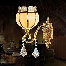 CNMKLM American Vintage Kupfer Crystal Schlafzimmer Wand Lampe leuchtet auf einfache Blume Arbeitszimmer Wandleuchten Wandleuchten Wohnzimmer