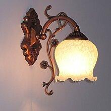 CNMKLM Antik Bronze Metall rot Bett an der Wand Lampen Flur Snow White Point Glas Lampenschirm Schlafzimmer Balkon Wandleuchten