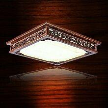 CNMKLM Chinesische Lampe einstellbar Einfache Sapele Wohnzimmer Lampe Marmor Holz Schlafzimmer stufenlose Licht led lampe 450 mm