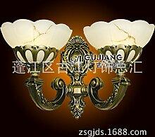 CNMKLM Europäischen Stil Wand Lampe Nachttischlampe Schlafzimmer/Wohnzimmer Continental Spiegel Wand Lampe Wand Lampe doppelte Leuchtenkopf 42 * 28 (cm)