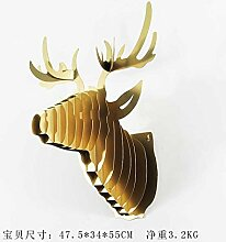 CNMKLM Hirsch Kopf kreative Wand Dekoration Wohnzimmer Wand montierten Veranda Villen eingerichtet Bar und schmiedeeisernen Verzierungen 47,5 * 34 * 55 cm,Kupfer-gold