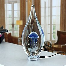 CNMKLM Kreative Leuchtende Qualle Lampe moderne, minimalistische Möbel Wohnzimmer kunst glas Nacht Licht, Blau