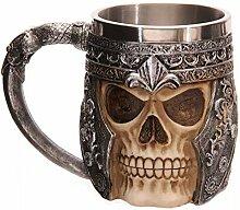 CNMKLM Neue 3D-personalisierte Skull Face Kelch Krieger Edelstahl 301-400ml Kaffee Tasse Tee kreative Cool SKULL TASSE