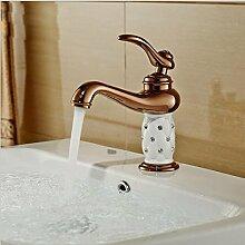 CNNBBGJ Antik Gold plattiert Diamant Mischung heißen und kalten Wasserhahn Waschbecken Wasserhahn Einhand Einlochmontage Mischbatterie
