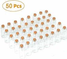 CNNIK 50 Stück 20ml Korken Mini Glasflaschen