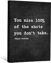 cnvnsp015,1cm Dick Schwere Galerie Wrap Leinwand Motivational Inspiration Sprüche Art von Wayne Gretzky, 61x 45,7cm schwarz/weiß