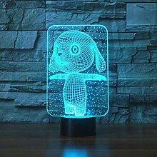 CNYDD Nachtlicht 3D 7 Farben Schöne Kaninchen