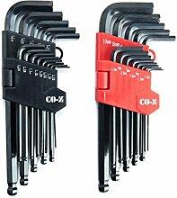 CO-Z Inbusschlüssel, 26 Stück, metrisch/Zoll