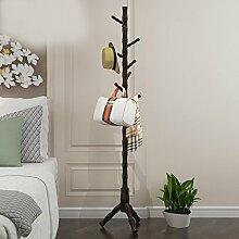 Coat Regalboden Massivholz Kleiderbügel Einfache Moderne Schlafzimmer Regale Wohnzimmer Kleiderständer ( Farbe : Walnut Farbe )