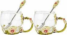 COAWG Teetasse aus Glas Emaille Große Glasbecher