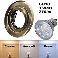 COB LED Einbaustrahler 230 Volt 3 W GU10 Decken